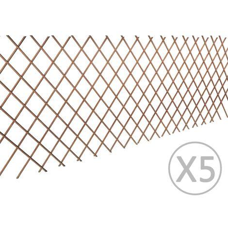 vidaXL Recinzione a Traliccio in Salice 5 pz 180x90 cm - Marrone