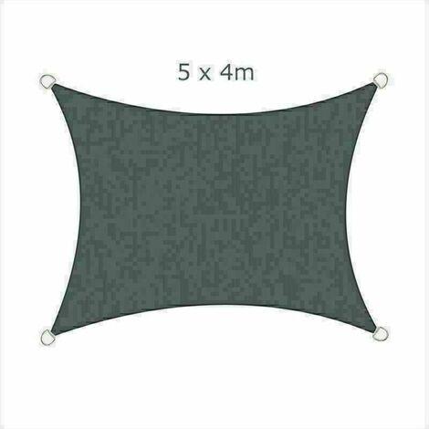 5x4m Sun Sail Shade Rectangular Awning Canopy Garden Sun Patio Sunscreen - Charcoal