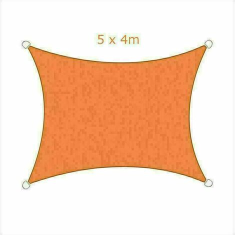 5x4m Sun Sail Shade Rectangular Awning Canopy Garden Sun Patio Sunscreen - Orange