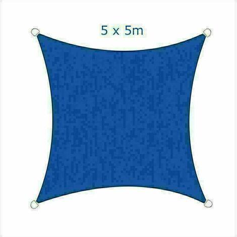 5x5m Sun Sail Shade Square Awning Canopy Garden Sun Cover Patio Sunscreen - Blue