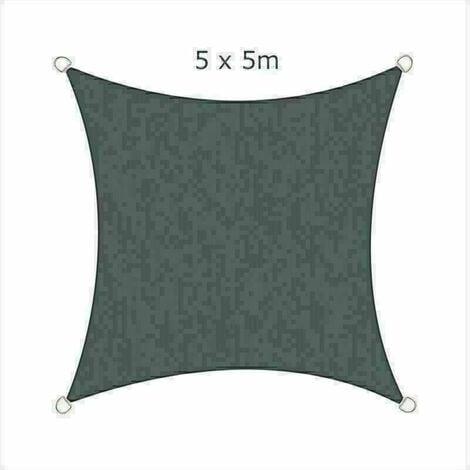 5x5m Sun Sail Shade Square Awning Canopy Garden Sun Cover Patio Sunscreen - Charcoal