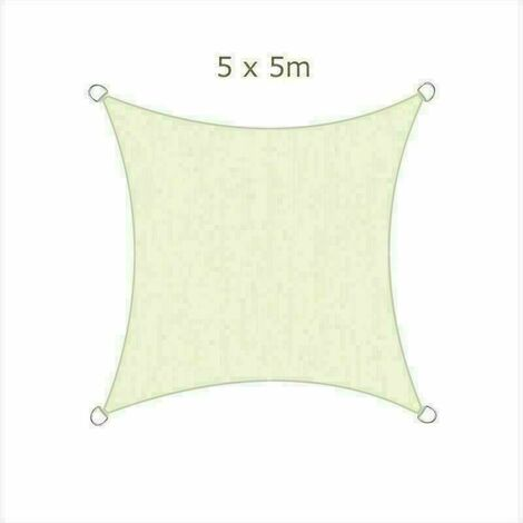 5x5m Sun Sail Shade Square Awning Canopy Garden Sun Cover Patio Sunscreen - Ivory