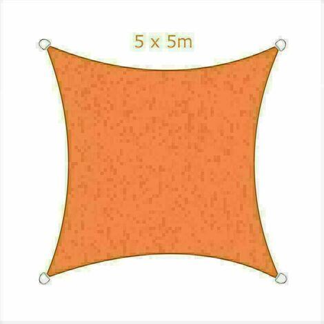 5x5m Sun Sail Shade Square Awning Canopy Garden Sun Cover Patio Sunscreen - Orange