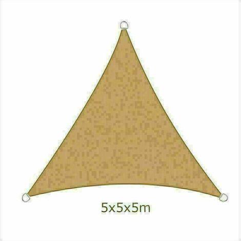 5x5x5m Sun Sail Shade Triangle Awning Canopy Garden Sun Patio Sunscreen - Sand