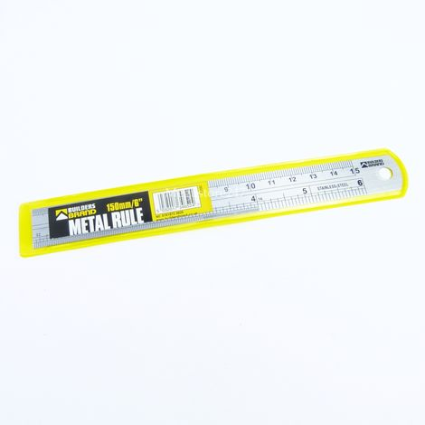 """6"""" / 150mm Steel Ruler Stainless Steel Rule 150mm DIY Tool Builders Brand"""