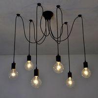 6 Arms 1.5m Antique Classic Edison Lamp Shade Ajustable DIY Ceiling Spider Lamp Light E27 Retro Chandelier Pendant Dining Hall Bedroom Hotel