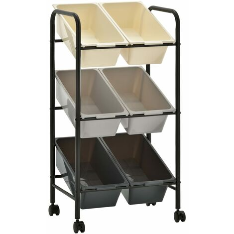 6-Basket Toy Storage Trolley Ombre Plastic
