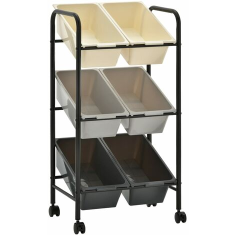 6-Basket Toy Storage Trolley Ombre Plastic - Multicolour
