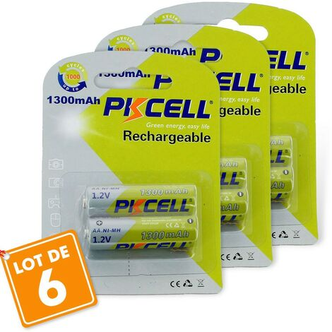 6 batteries piles solaire rechargeables LR6 AA - Ni-MH 1300 mAh