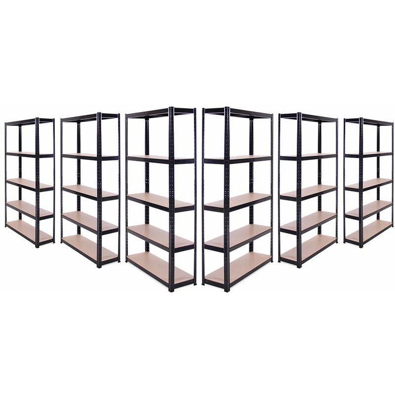 Image of 6 x Black Metal 5 Tier Garage Shelves Shelving Unit Racking Storage 180x90x30cm - G-RACK