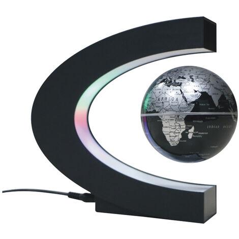 "6"" C forma de mapa magnetico globo flotante levitacion Maglev levitacion giratoria Globo del mundo con luces de colores LED para la ensenanza turistica Decoracion"