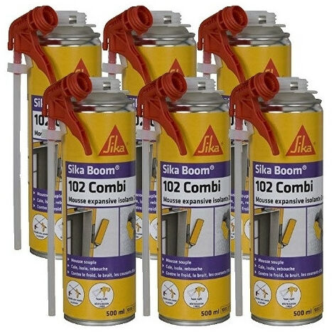 6 cartouches Mousse expansive isolante 2en1 Sika Boom 102 Combi 500ml SIKA