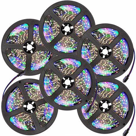 6 cintas LED 5m 300 LEDs - tira de led con pila de litio, tira de luces led de bajo consumo energético, luminarias led de distintos colores - blanco