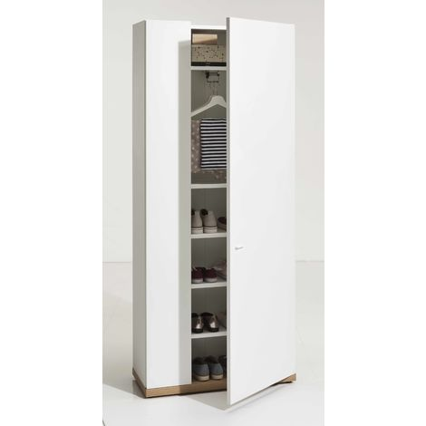 6-Compartments White with Oak Base Wardrobe with Shoe Rack Storage PASSACOR