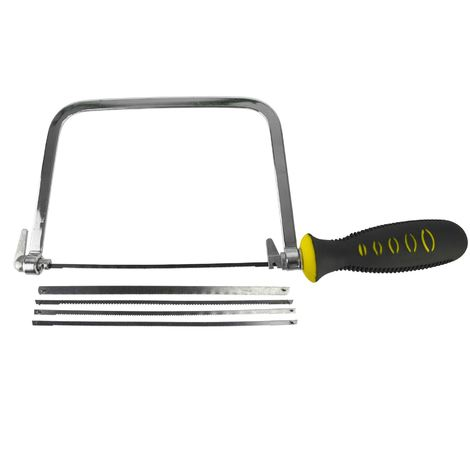 "6/"" Coping Saw Fret Saw Wood Handle Steel Metal Frame With 5 Blades Hilka"