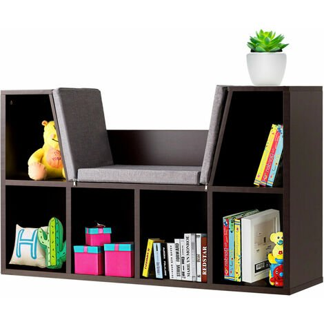 6 Cube Cabinet Wooden Storage Shelf Bookcase Cube Storage Shelving With Cushion Brown