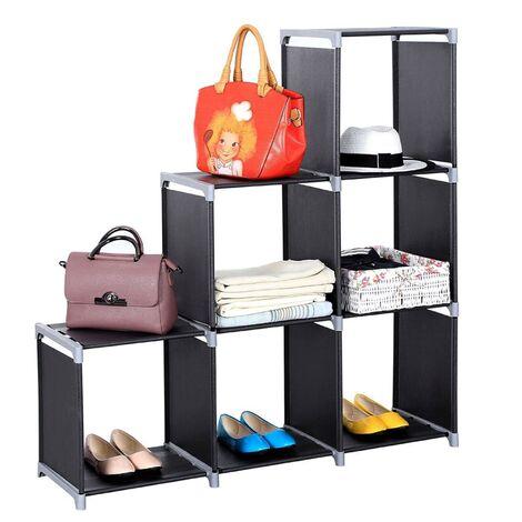 "6 Cube Modular Storage Shelves Organiser Rack DIY Open Bookshelf Closet 41.73 × 11.73 × 43.3"" (Black)"
