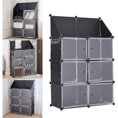 6 Cube Plastic Storage Box Wardrobe Closet Books Cabinet Display Stand Organiser