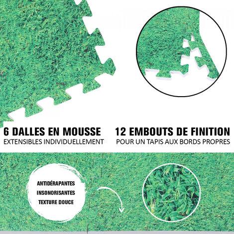 6 dalles carrées de protection + 12 embouts de finition - 1,2 cm d'épaisseur - Coloris : Noir, Rouge, Gris, Bleu, Bois foncé, Bois clair, Gazon