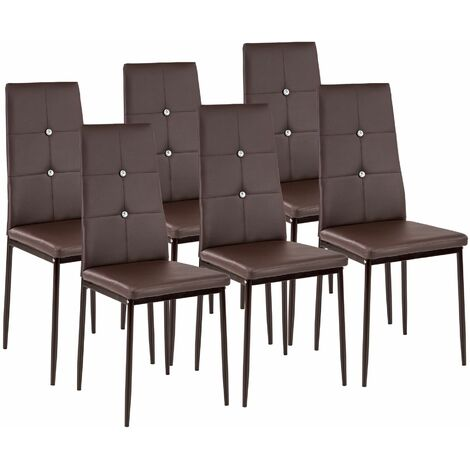6 dining chairs with rhinestones - dining room chairs, kitchen chairs, dining table chairs - brown