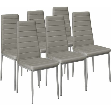 6 dining chairs synthetic leather - dining room chairs, kitchen chairs, dining table chairs - grey