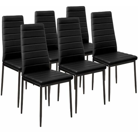 6 Dining Chairs Synthetic Leather Dining Room Chairs Kitchen Chairs Dining Table Chairs Black 401848