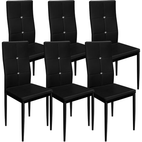 6 Dining Room Chairs Chair High-Back Set Upholstered Kitchen Home Restaurant Modern Seater Colour Choice Black or White (Black)