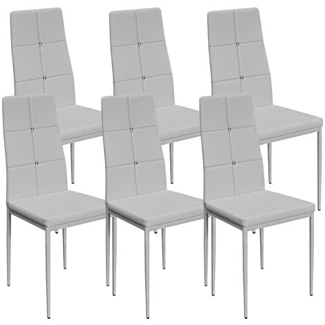 6 Dining Room Chairs Chair High-Back Set Upholstered Kitchen Home Restaurant Modern Seater Colour Choice Black or White (White)