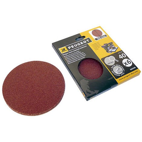 6 disques abrasifs auto-agrippants D. 150 mm - Grain 40 pour ENERGYSAND 150 - 806308 - Peugeot - -