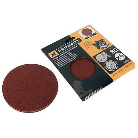 6 disques abrasifs auto-agrippants D. 150 mm - Grain 80 pour ENERGYSAND 150 - 806310 - Peugeot - -