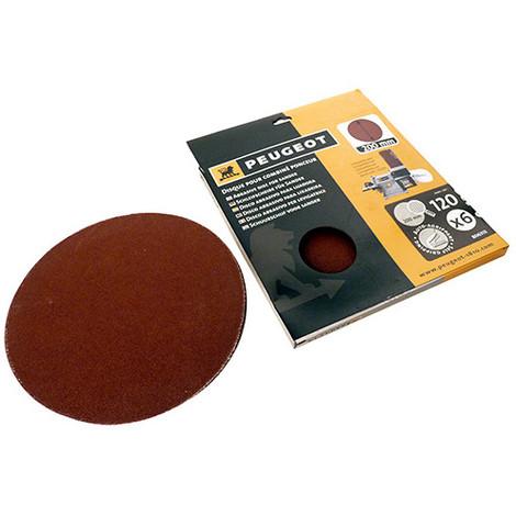 6 disques abrasifs auto-agrippants D. 200 mm - Grain 120 pour ENERGYSAND 200ASP - 806313 - Peugeot - -