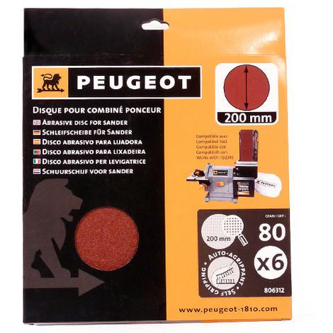 6 disques abrasifs auto-agrippants D. 200 mm - Grain 80 pour ENERGYSAND 200ASP - 806312 - Peugeot - -