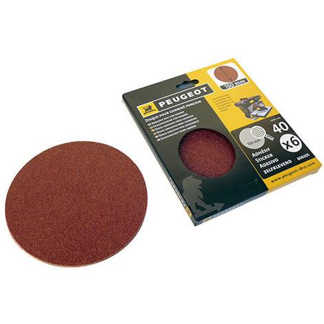 6 disques abrasifs autocollants D. 150 mm - Grain 40 pour ENERGYSAND 150 - 806305 - Peugeot - -
