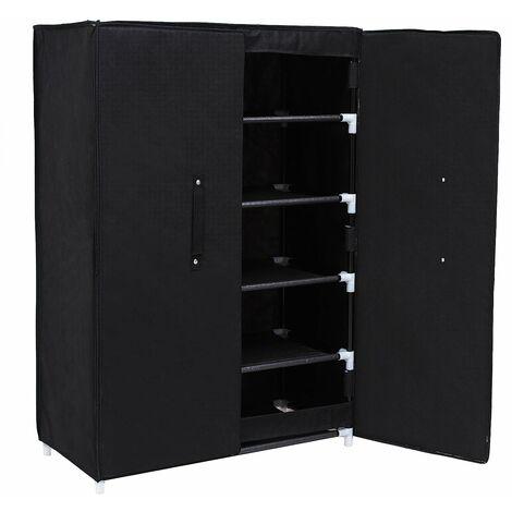 6 Ebenen Schuhschrank Schuhablage Schuhregal Schuhständer Regal mit Tür schwarz 61 x 89 X 28cm (B x H x T) RXA16H - Schwarz