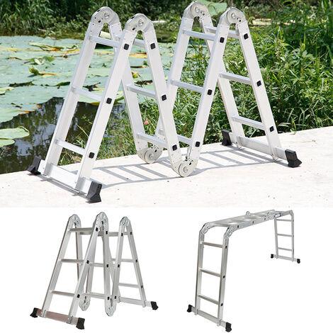 6 En 1 Escalera de aluminio multiusos Plegable Diseño Antideslizante Carga Máxima 150kg