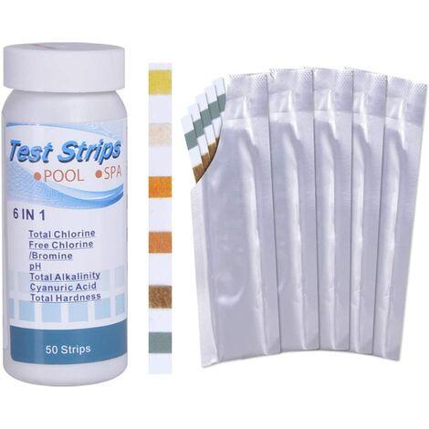6 en 1 PH Bandelettes de Test pour Piscine, utilisé pour détecter la qualité de l'eau de source chaude, chlore total, chlore / brome résiduel, PH, alcali total, dureté, acide cyanurique, 100 bandes
