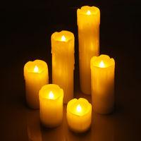 6 er Set LED Kerzen mit flackerndem Licht Wachskerzen inkl. Batterie