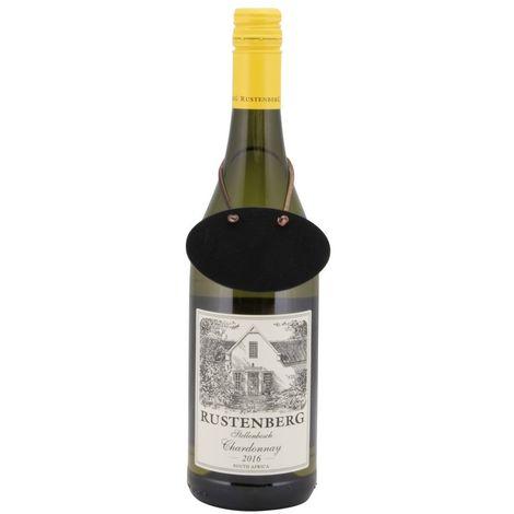 6 étiquettes ardoise pour bouteille de vin + feutre craie - Noir - 8.3 - Noir