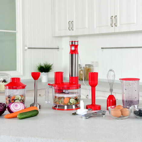 6 in 1 Hand Blender Food Mixer Processor Whisk Immersion Handheld Set 1000W RED