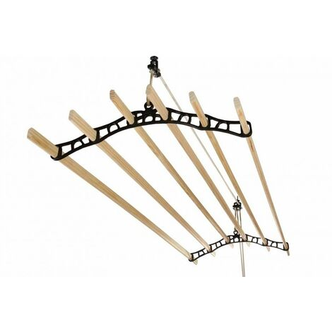 6 Lath Victorian Black Clothes Airer Kit - Choice Of Wooden Lath Lengths - 1.9m