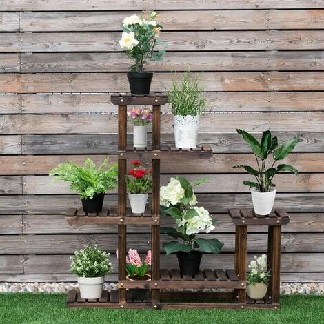 6 Layer Flower Rack Wood Plant Stand Pot Display Shelf Indoor Outdoor Garden