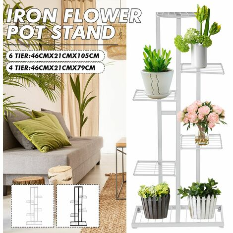 6 levels White metal plant stand 105x46x21cm
