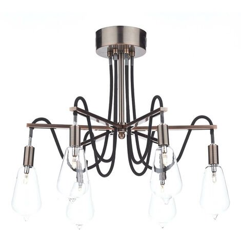6-light antique copper and glass scroll ceiling light