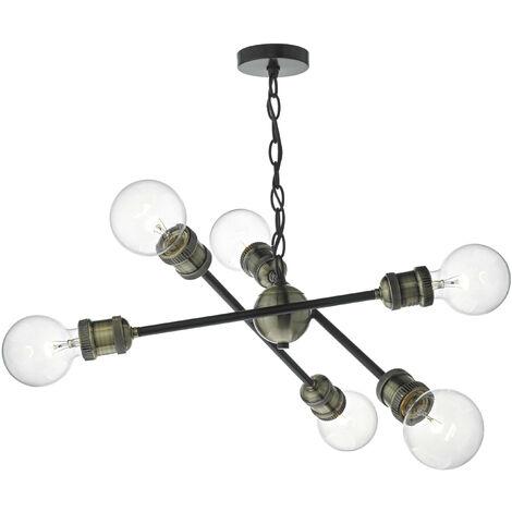 6-light matt black and antique brass Brigade pendant