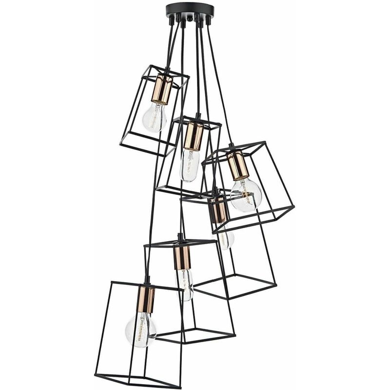 Image of 6-light matt black and polished copper Tower pendant
