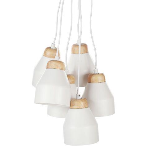 6 Light Pendant Lamp White CESTOS