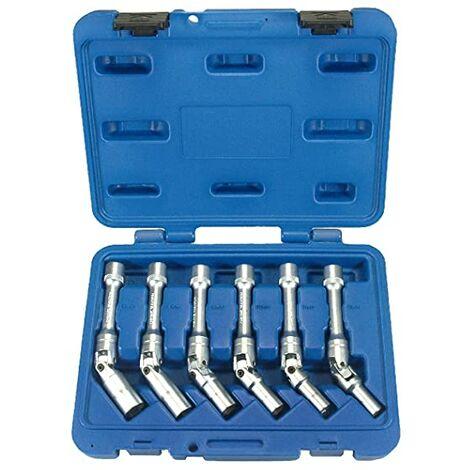 """6 Llaves Articuladas De Vaso Para Bujias Calentadores Coche (Para Gasolina Y Diesel/Gasoil) - Extractores 3/8"""" Articuladas 8, 9, 10, 12, 14, 16 Mm"""