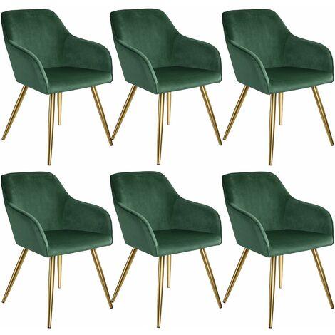 6 Marilyn Velvet-Look Chairs gold