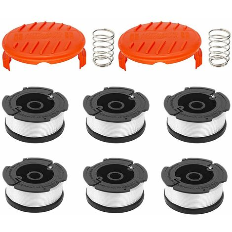 6 pack line spool With 2 covers for replace Black Decker grass trimmers Replacement Spool Weed Eater Cap Autofeed Trimmer String AF-100