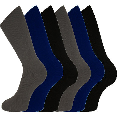 6 Pack Of Mens Longer Thermal Boot Shoe Plain No Pattern Socks, Mix Darks, UK 6-11 Eur 39-45,